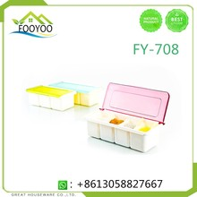 FY-708 HOME&GARDEN PLASTIC PROCUST SEA SALT BOX PLASTIC SEASONING BOX 4 PARTS ORGANIZERS