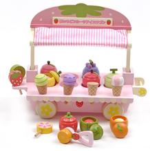 children toys new 2016 style mother garden wooden toys Simulation strawberry ice cream carts toy kitchen