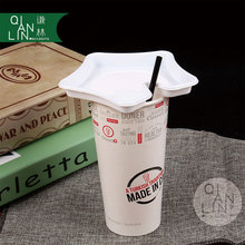 Custom disposable white kraft paper coffee/milk cup with logo printed