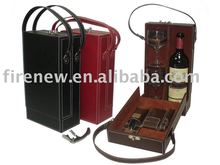 Faux leather wine carrier for two bottles