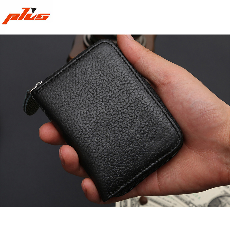 Black Zipper Mini Small Size Genuine Leather Mens Front Pocket <strong>Wallet</strong>
