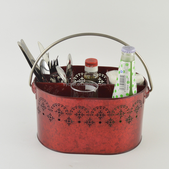 Langjie New design metal storage basket, Metal galvanized Condiment caddy holder, cutlery utensil basket-Red F0216