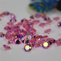wholesale Incomparable Beautiful 10mm round pink ABcolour zircon rhinestone gemstone for High-end jewelry