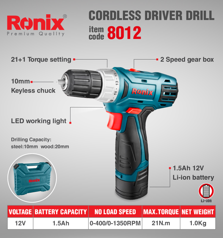 Ronix Electric Power Tool 12V Li-ion Cordless Driver Drill  12V with 2 Batteries