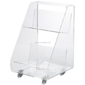Clear portable lucite acrylic book cart display rack with rolling wheel