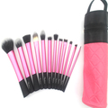 Sedona 12pcs Makeup brush kit with cylinder brush case,sedona pink brush set with bag,professional makeup brush set