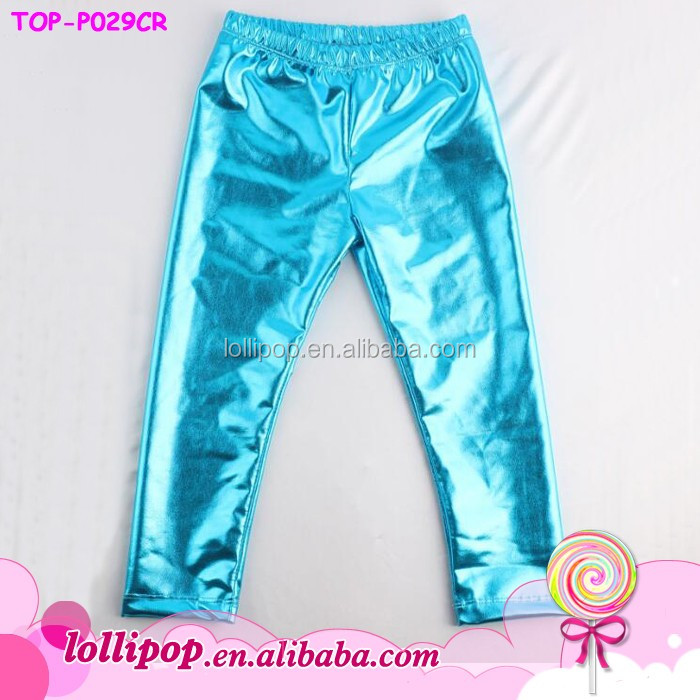 Wholesale Brand Baby Leggings turquoise Faux Leather Capri Trousers Autumn children wear