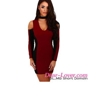 Black Panel Splice Burgundy Cold Shoulder Sexy Mature Ladies Dresses
