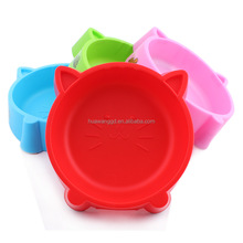 2015 Newest pet dogs /cats plastic antislip healthy bowls with Cat face shap design