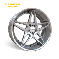 Zumbo-A0076 Sliver face machined+SSL Brand name small car all types of car rims made in China with over 10 years' experience 22""