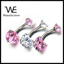 Fashion Style Stainless Steel Women's Navel Piercing Needles With Beautiful Crystal Jewelry