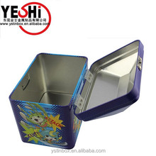 Hot sale house shaped kids tin lunch box with handle and lock