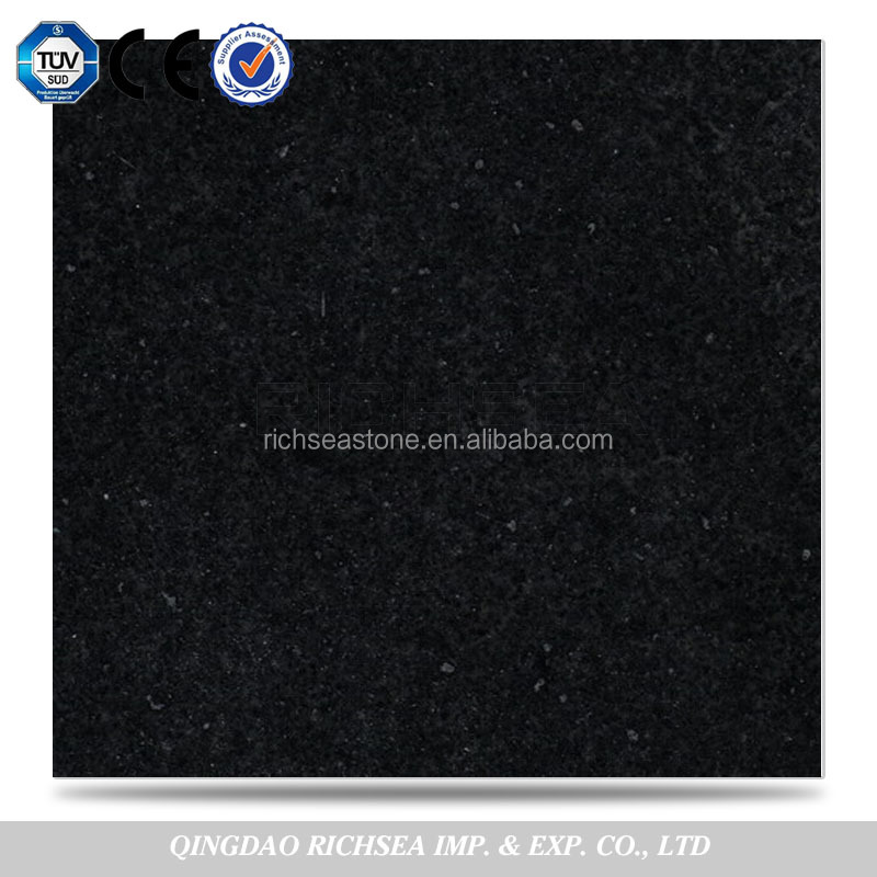 Customized Size Outdoor Flooring Tiles Stone Black Granite