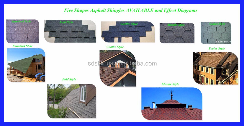 New Building Material Colorful Asphalt Roof Shingles/Tiles