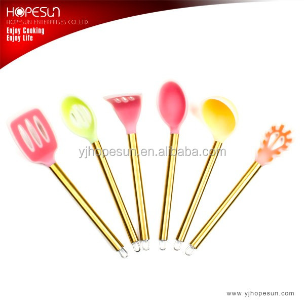 Hot sell 6 pcs silicone kitchen utensil set with gold handle