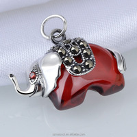 Thailand 925 Sterling Silver Fashion White Gold Plated Red CZ Elephant Pendant