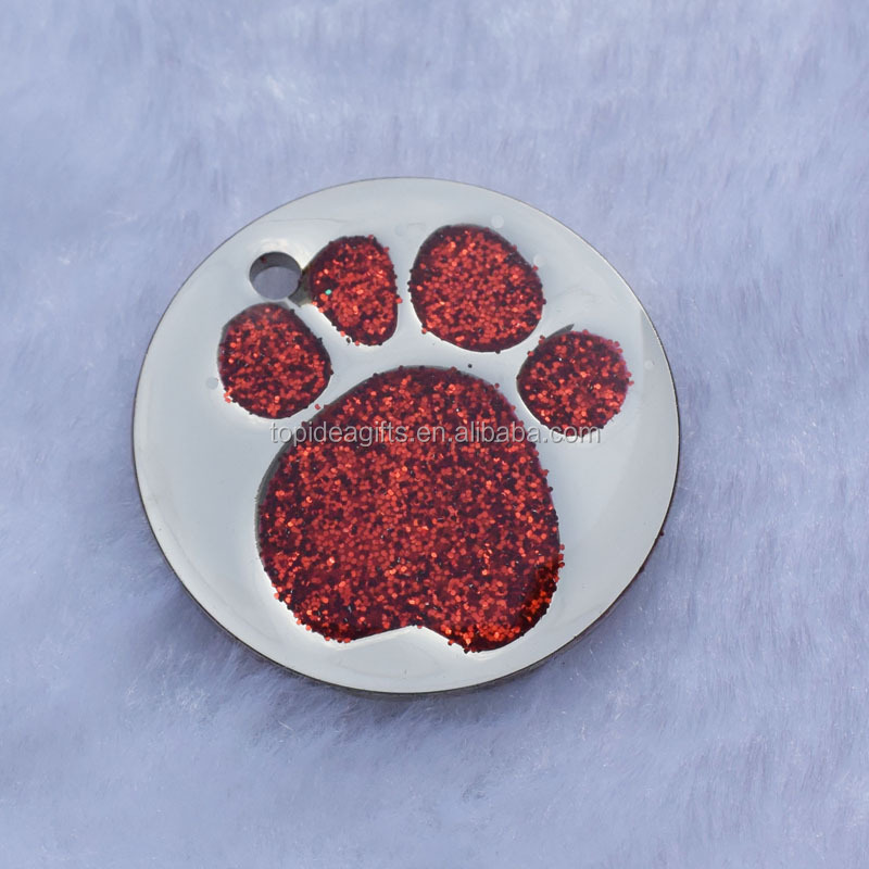 32mm Large Size Glitter Red Paw Logo Round Shape Metal Dog Tag ID Pet Tag