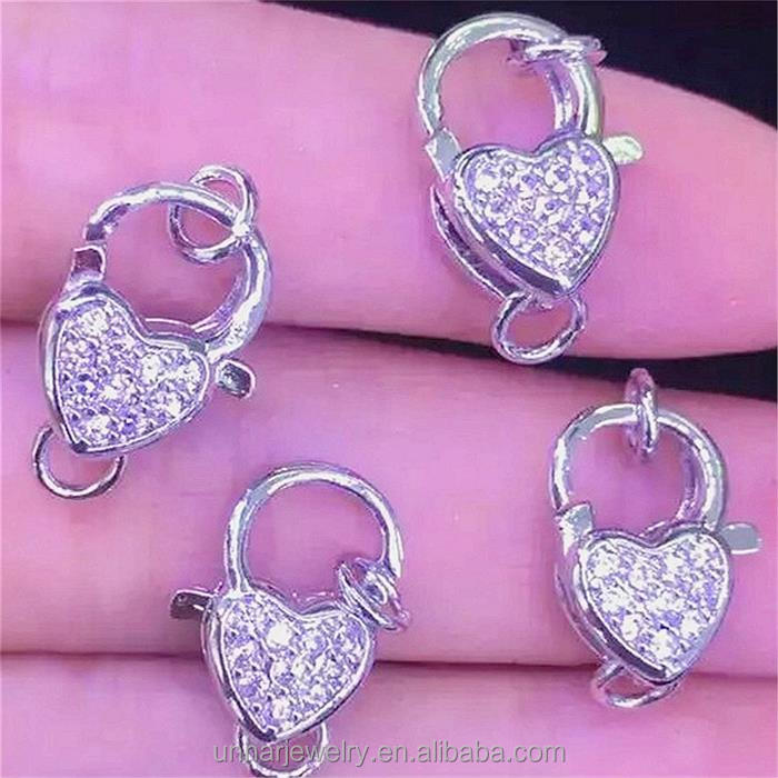 Wholesale Cubic Zircon CZ Paved Micro silver / gold plated heart key chain shape pendant from yiwu