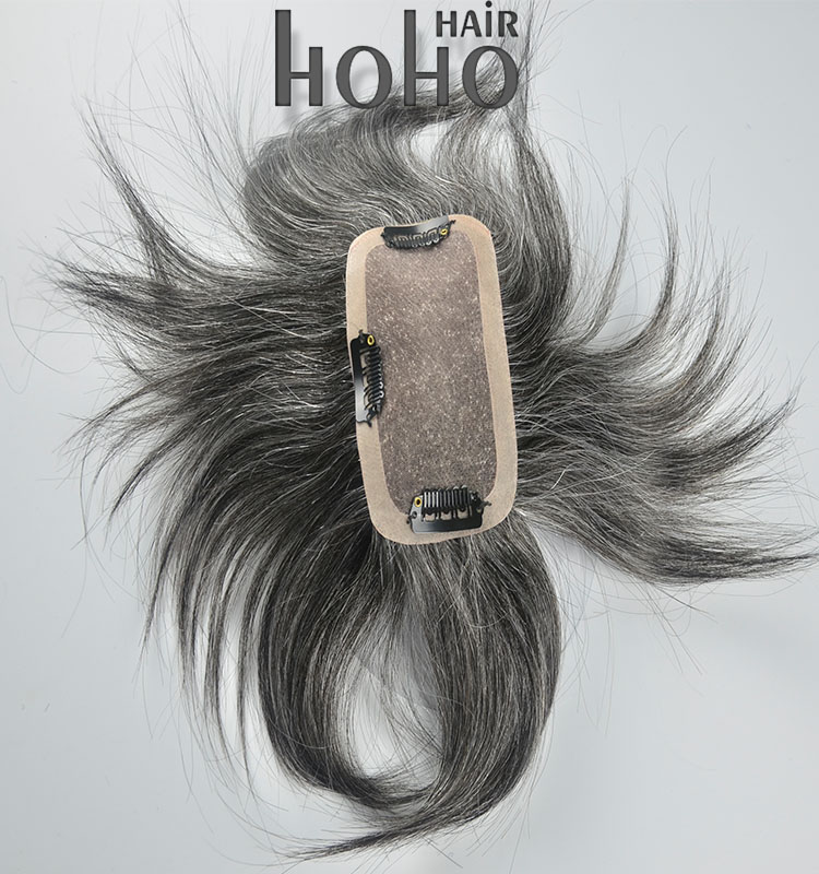 grey hairpieces 100% Chinese clip in human hair topper wig for men