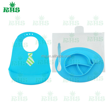 100% FDA healthy silicone baby bibs wholesale with large food pocket