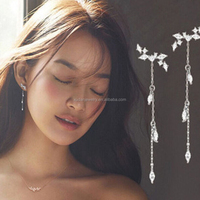 Elegant 925 Silver Pin Earrings Fashion Long Tassel Leaves Cubic Zircon Crystal Stud Earrings for Women