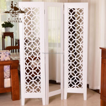 Room decoration wood carving folding screen partition with mirror