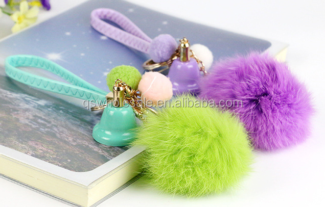 Plush key ring bells, bells 2016 fashion imitation rabbit hair ornaments, imitation fur keychain