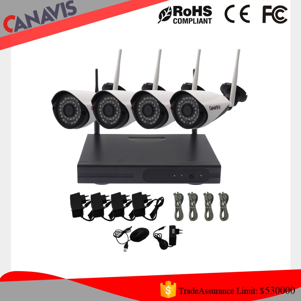 HD wireless cctv camera 4ch home security system nvr kit
