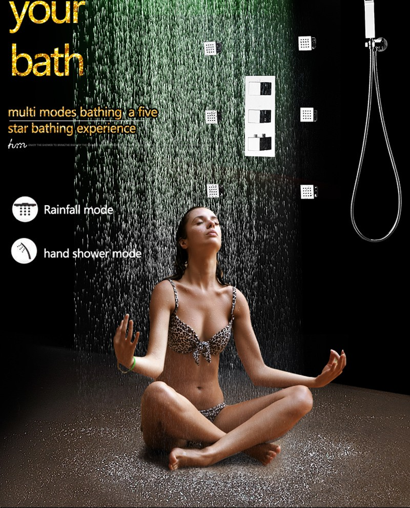 Bathroom Thermostatic Concealed Shower Mixer 6 Massage Body Jet Stainless Steel LED Rain Shower Set