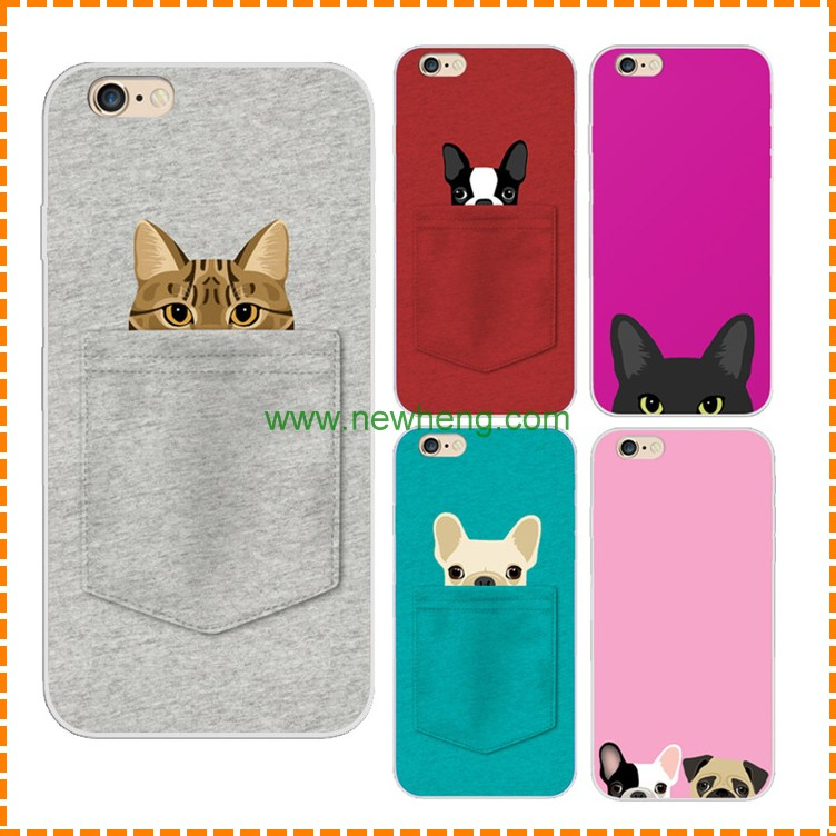 Promotion Cheap pocket cat pocket dog cute silicone cell phone case for iphone 6 plus