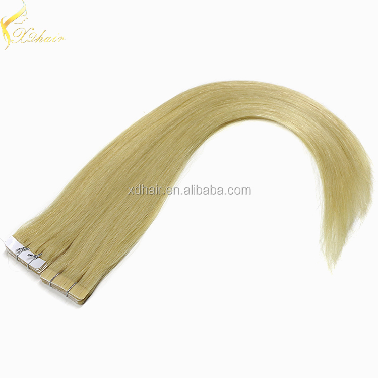 Wholesale price high quality double drawn 100% unprocessed virgin hair tape hair extension remy