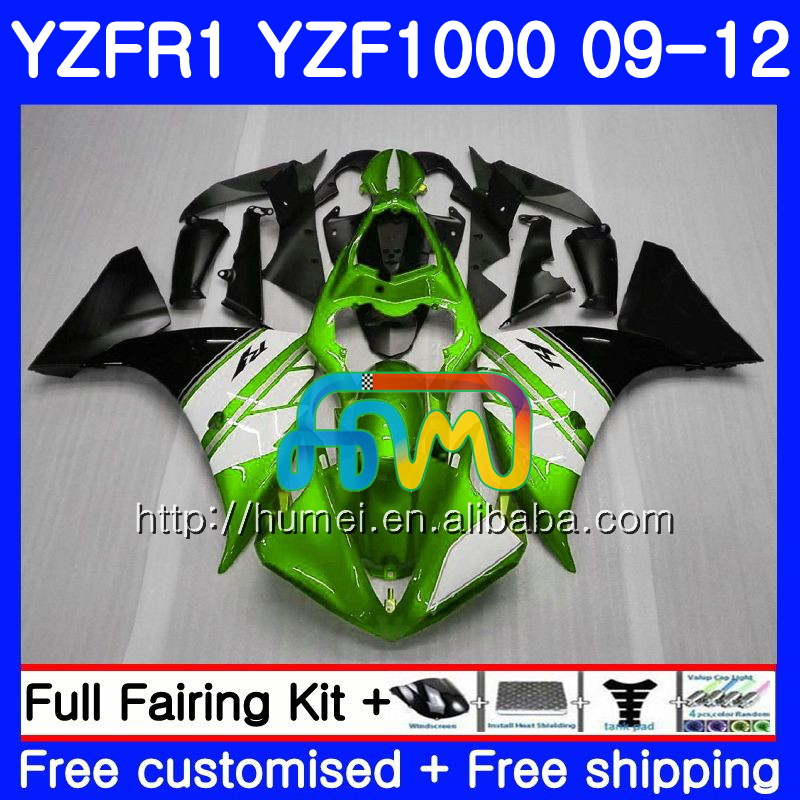 Body For YAMAHA YZF-R1 green black YZF-1000 YZF R1 09 10 11 <strong>12</strong> 104HM30 YZF1000 <strong>R</strong> 1 YZF 1000 YZFR1 2009 2010 2011 2012 Fairing