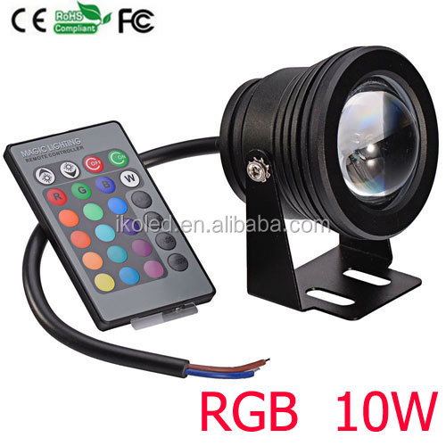 10W RGB Floodlight Underwater LED Flood Lights Swimming Pool Outdoor Round Convex Lens flood light Waterproof balck