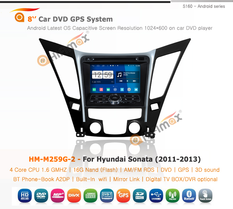 HIFIMAX Android 4.4.4 2din gps car dvd navigation player for Hyundai Sonata (2011-2013)