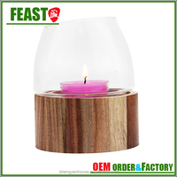 2015 New design glass candle holder decorative candle jar with wood stand