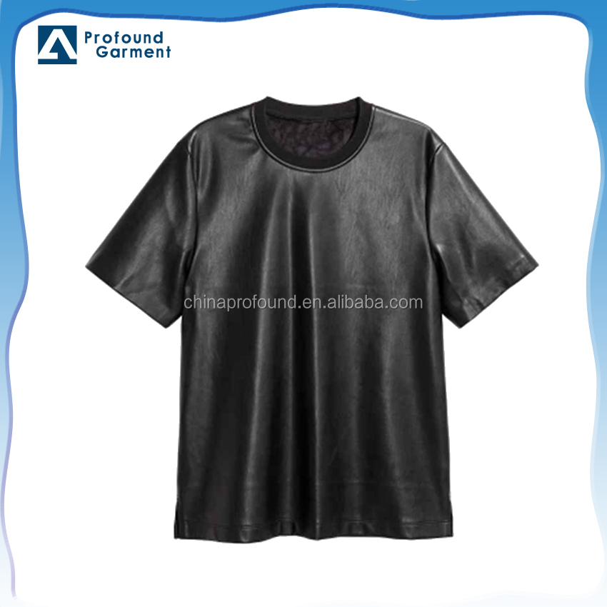 PU mens textiles leather t shirt short sleeves synthetic leather fabric wholesale tshirts imitation leather fabric for man