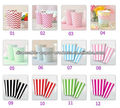 2400x12colors Children's Party Accessories Vertical Stripes Chevron Disposable Party Paper Drinking Cups Glasses , Free Shipping