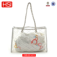 Metal chain transparent PVC cosmetic bag with handle