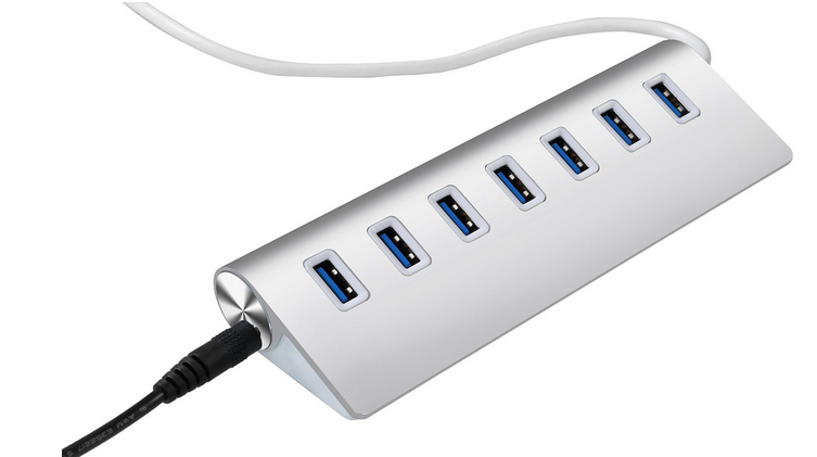 7 Ports USB 3.0 Portable Aluminum Hub with 12V 3A Power Adapter and 3.3ft USB 3.0 Cable