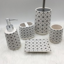 line drawing Bright white hotel restaurant stoneware ceramic bathroom accessories