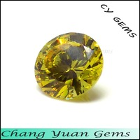 2.00mm round shape yellow color cz stone