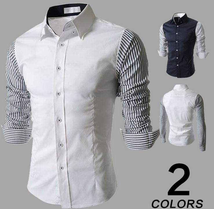 Hot Sale New Fancy Simple Design Casual Dress Men's Stripe <strong>Shirts</strong> M-2XL