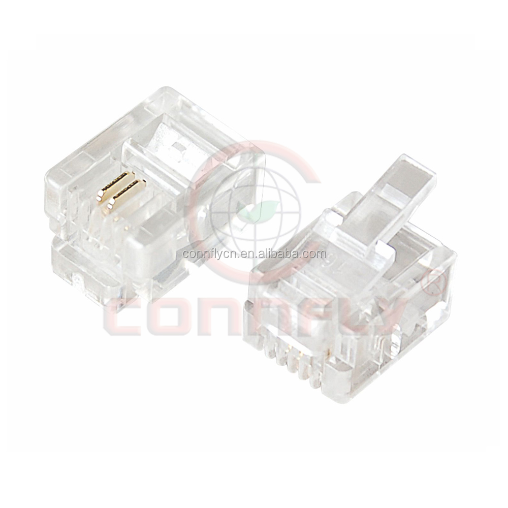 Hot sell gold plated 2 pin rj12 Square type connector