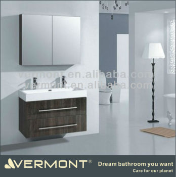 double basin drawer bathroom cabinet with mirror cupboard