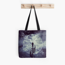 new design standing dream world open the eye fashion tote bag handbag with straps