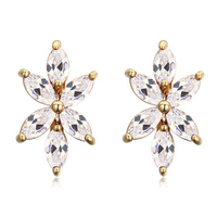 2016 Trend China Factory Jewelry Manufacturer Flower Shaped Brass Earrings