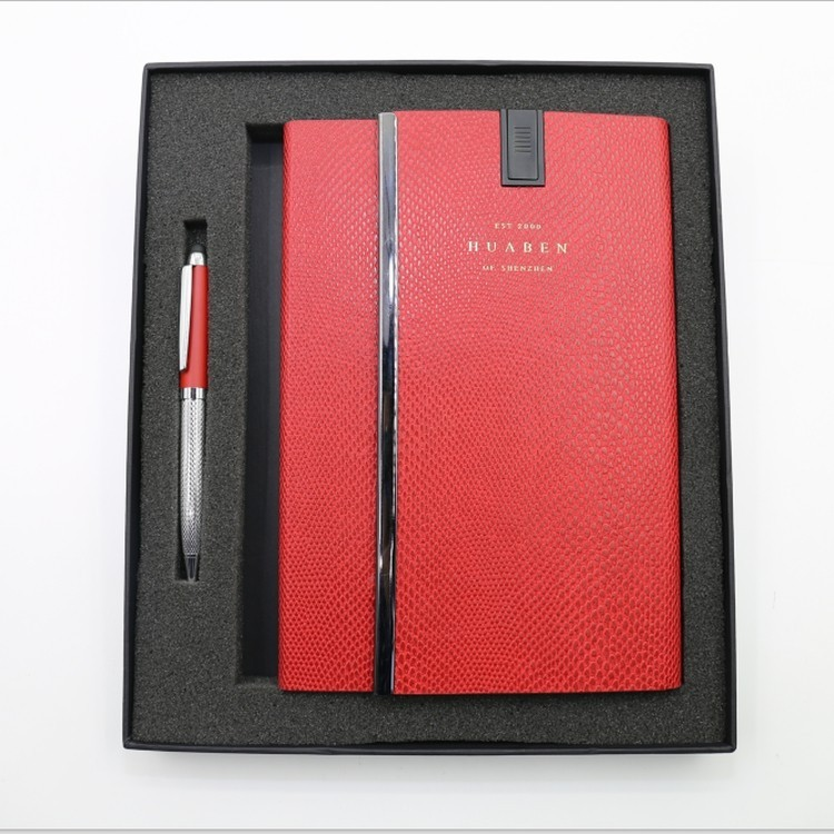 Fashion promotional custom A5 8GB USB notebook and pen with gift sets