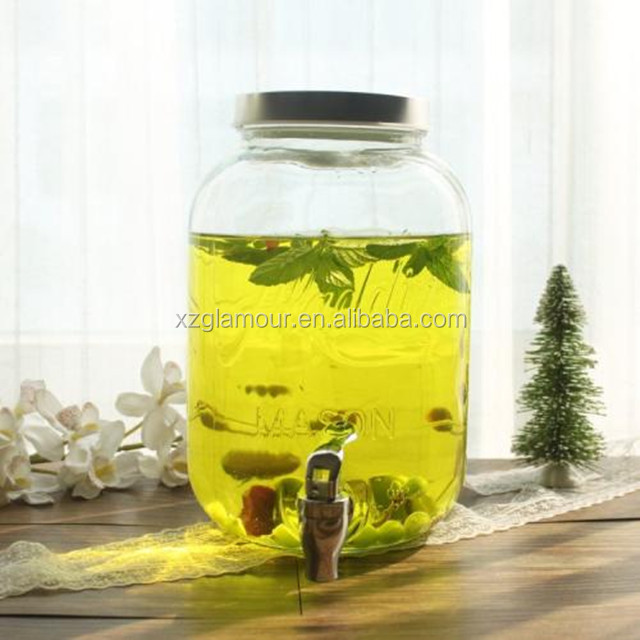 4L eco-friendly glass beverage dispenser with metal tap