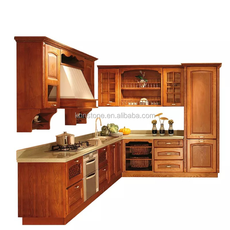 Solid Wood Pre Assembled Kitchen Cabinets,Kitchen Cupboard with Wood Hood