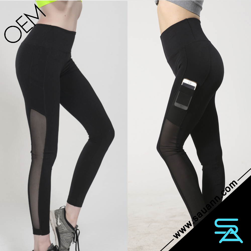 Women Running Tight Cycling Sports Mesh Yoga Legging Pants with Hidden Side Pocket